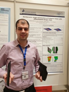 Mladen Banovic at the Marie Curie Alumni Association General Assembly in Vienna presenting an example of aerodynamic blades